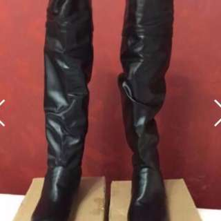 Leather Material Long High Heel Boots