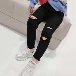 韓版 春季新款 兒童黑色個性牛仔褲/破褲