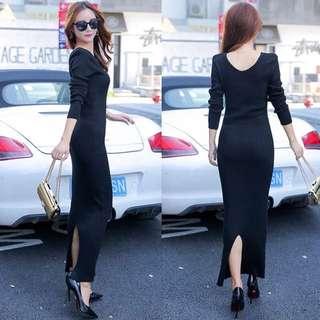 Knitted Long Sleeve Slit Back Midi Bodycon Dress