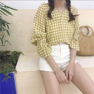 Two way Checkered Yellow Top