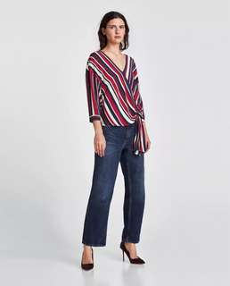 European and American style stripes printed folds hem band loose knit shirt