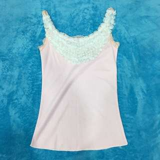 Free Shipping !! Pink Lace Flower Knit Tank Tops