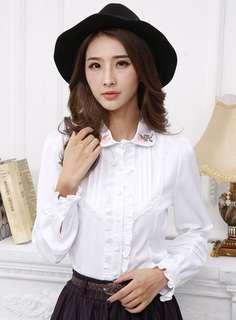 AO/KMC070719 - Charming Embroidered Doll Collar Flouncing Long Sleeve Blouse