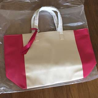 ☆ Lancôme 手袋 蘭蔻 lancome 包包 桃紅 白色☆