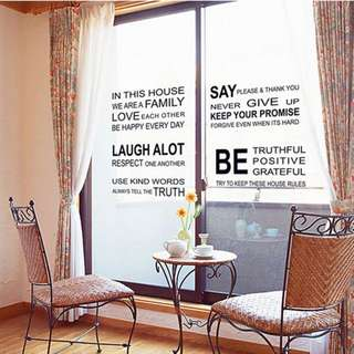 In This House Wall Home Mural Decor Quote Room Decal Windows DIY