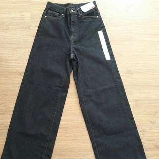 Uniqlo Highwaist Denim Wide Leg Pants