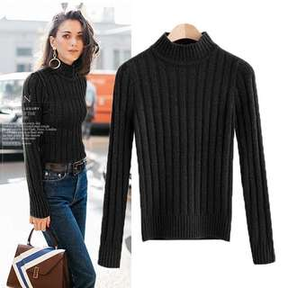Turtleneck Sweater Top BLACK & BLUE