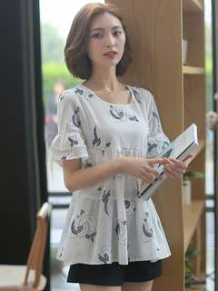 AO/DZC070847 - Korean Summer Floral Embroidered Loose Cotton Blouse