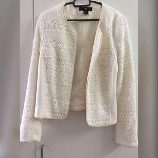 H&M White Lace Blazer
