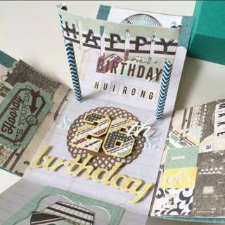 Happy 26th birthday masculine Explosion Box card for boyfriend or husband
