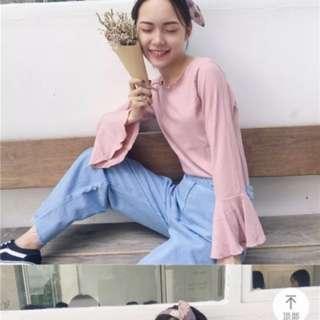 Korean style bell sleeves top (nude pink)