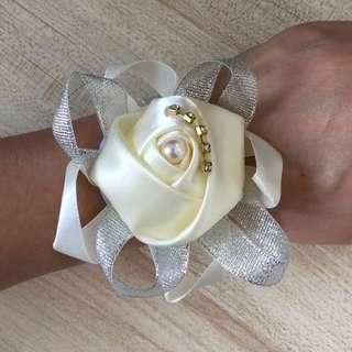 Brides wrist flowers