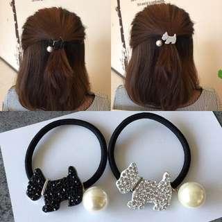韓國進口閃閃水鑽時尚可愛狗狗珍珠皮筋髮圈頭飾