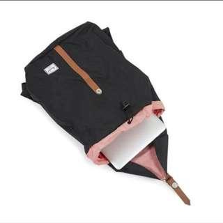 Hershel Backpack Black Brown Leather Strap Mid Volume