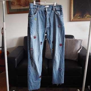 Zara Denim embroidered denim jeans