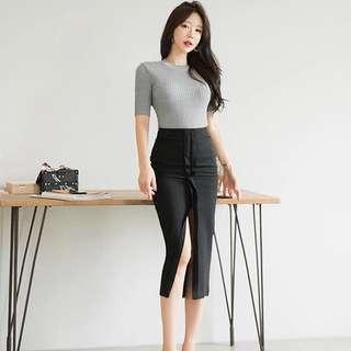 Knitted Short Sleeve Top High Waist Slit Front Bodycon Skirt 2 Piece Set