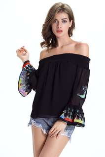 AO/DZC070874 - Floral Embroidered Boat Neck Chiffon Blouse