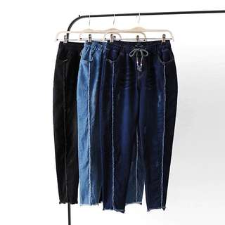 (XL~4XL) Women's fashion Slim high elastic pants line skirt jeans high waist bottoming 9 points pants
