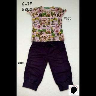 Elmo Top And Purple Pedal Pusher For Girl