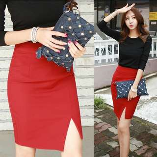 [PO 32] High Waist Bandaged Skirt wth Slit