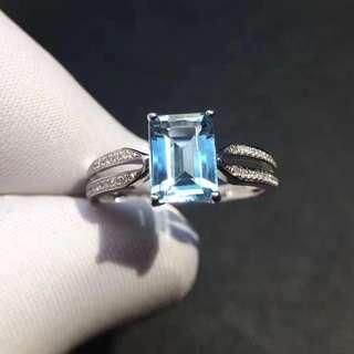 海藍寶鑽石戒指