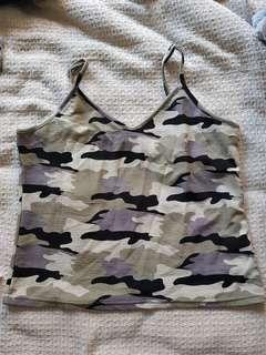 Khaki armt print tee tshirt single tank top cami