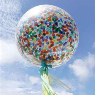 Helium Balloons - 36 Inch Confetti Classic Birthday Balloon