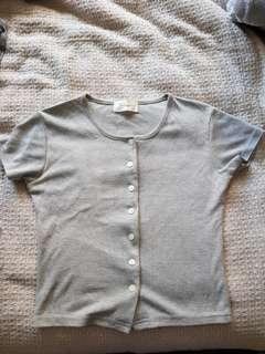 Grey button top crop tops womens