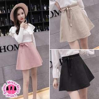 Tie Ribbon Flare Skirt (PO1810)