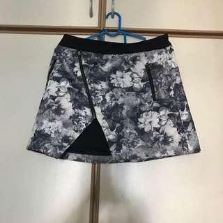 Zara Basics Grey/Black Floral Skirt