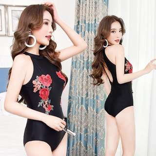 Floral Embroidery Cut In Bare Back Monokini