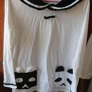 🚚 二手 吉兒龐克 日系/水手風/蘿莉塔/黑白 長袖上衣