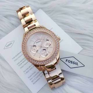 AUTHENTIC Fossil women's watch STELLA MULTIFUNCTION ROSE-TONE STAINLESS STEEL WATCH