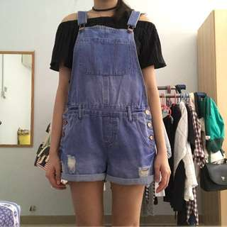 Cotton On Demin dungaree/overall shorts