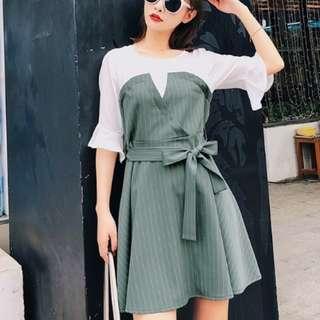 70016 #夏装新款短袖荷葉邊拼接連衣裙  尺码:S M L  颜色:圖片色