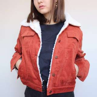 Brick Red Sherpa Corduroy Jacket
