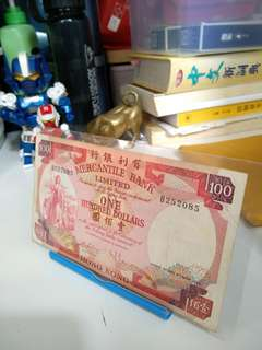 1974 The Mercantile Bank Limited one hundred dollars hong kong banknote
