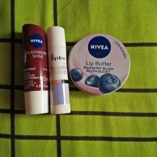 Nivea Lip Butter & Lipice lipbalm (include postage sm)