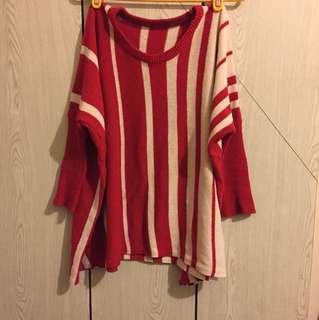 🌺 紅白相間針織毛衣