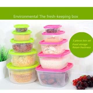 Square Food storage tempat penyimpanan makanan kotak set 5pcs