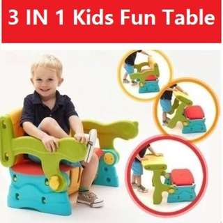 Kids Storage Table/Chair/Storage - 3 In 1 Multipurpose Set