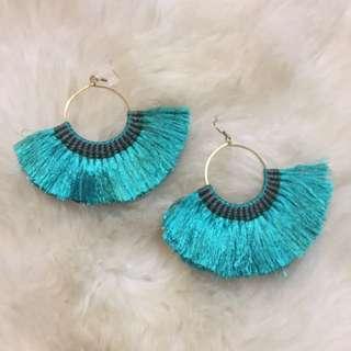 Boho Green Tassel Earrings