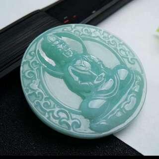 🎋Grade A 冰糯 Green Goddess of Mercy 观音 Guanyin Jadeite Jade Pendant/Display🎋