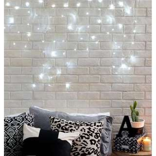 Aesthetic waterfall string lights typo white