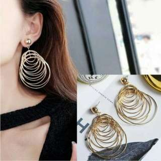 PROMO - Anting Multi Layer Metal Circle Long