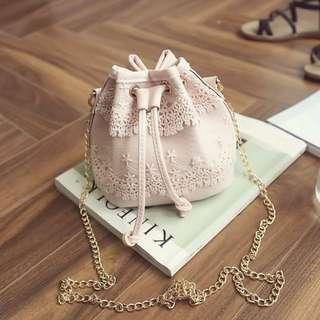 Small Flowery Designed Bucket Bag; shoulder backpack haversack; Korean Kpop; cute sweet; female girl woman women lady ladies; pink black white grey monochrome