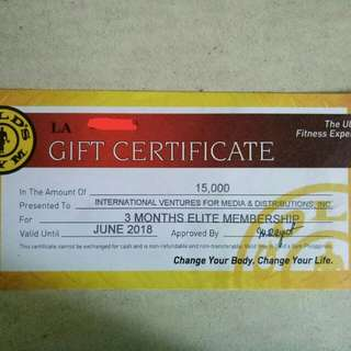 Gold's Gym Elite Membership GC any branch