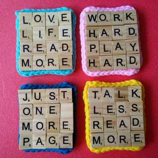 Scrabble Tile Coaster with Crochet Base