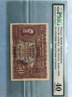 Malaya 1941 50 cents variety b&d PMG 40