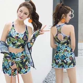 Floral Tank Top Bikini Zip Rashguard 3 Piece Long Sleeve Swim Wear